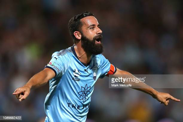 Alex Brosque of Sydney celebrates scoring a goal during the round 11 ALeague match between Sydney FC and the Central Coast Mariners at WIN Jubilee...