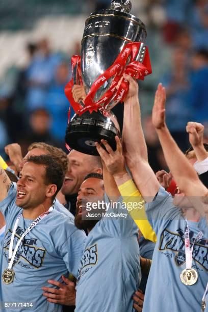 Alex Brosque of Sydney celebrates with the FFA Cup during the FFA Cup Final match between Sydney FC and Adelaide United at Allianz Stadium on...