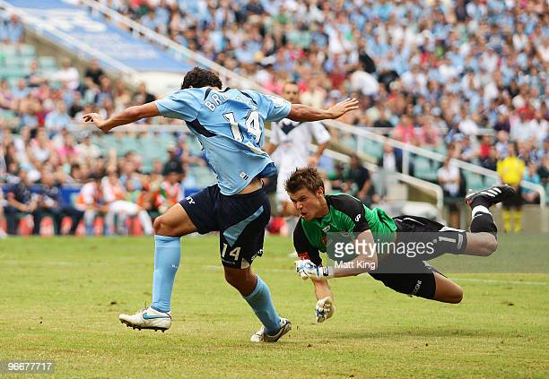 Alex Brosque of Sydney collides with goalkeeper Mitchell Langerak of the Victory during the round 27 A-League match between Sydney FC and the...