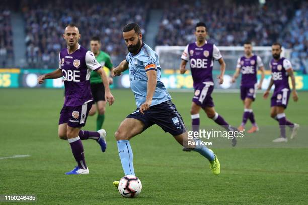 Alex Brosque of Sydney controls the ball during the 2019 ALeague Grand Final match between the Perth Glory and Sydney FC at Optus Stadium on May 19...