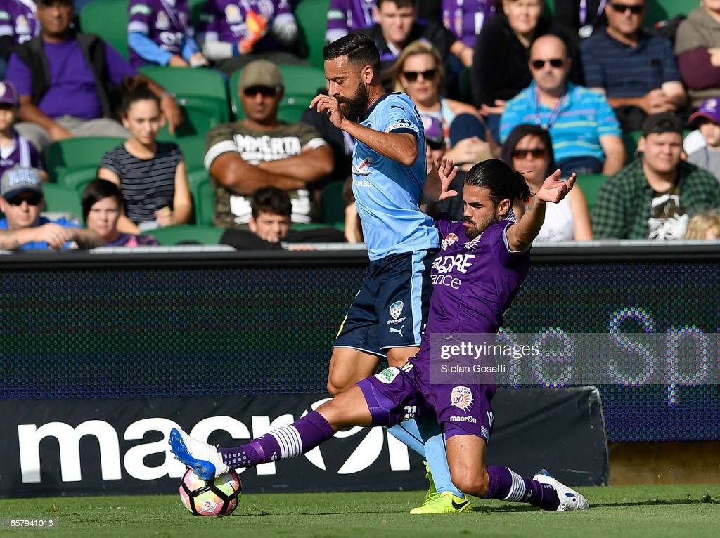 Alex Brosque of Sydney FC and Aryn Williams of the Glory contest the ball during the round 24 A-League match between Perth Glory and Sydney FC at nib Stadium on March 26, 2017 in Perth, Australia.