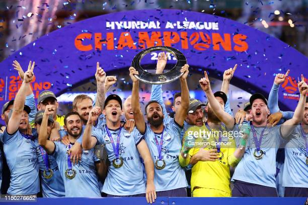 Alex Brosque of Sydney FC and team mates celebrate winning the 2019 A-League Grand Final match between the Perth Glory and Sydney FC at Optus Stadium...