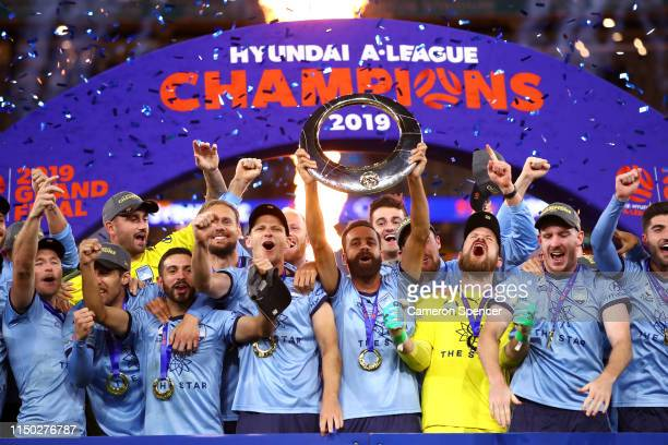 Alex Brosque of Sydney FC and team mates celebrate winning the 2019 ALeague Grand Final match between the Perth Glory and Sydney FC at Optus Stadium...