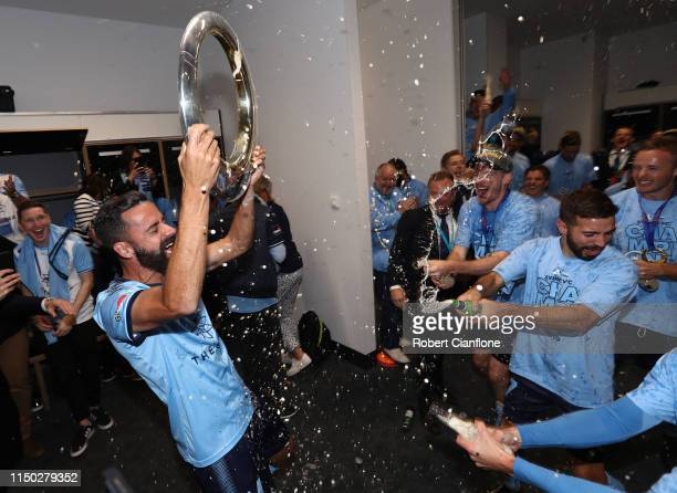 Alex Brosque of Sydney FC celebrates after Sydney FC defeated Perth Glory during the 2019 ALeague Grand Final match between the Perth Glory and...