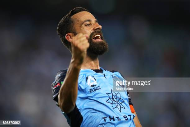 Alex Brosque of Sydney FC celebrates scoring a goal during the round 11 ALeague match between Sydney FC and Melbourne City FC at Allianz Stadium on...