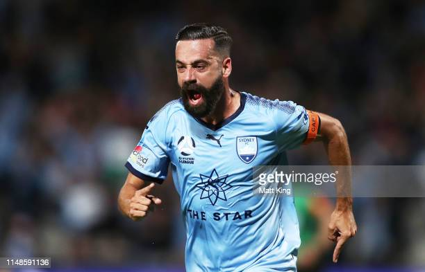 Alex Brosque of Sydney FC celebrates scoring a goal during the A-League Semi Final match between Sydney FC and the Melbourne Victory at Netstrata...