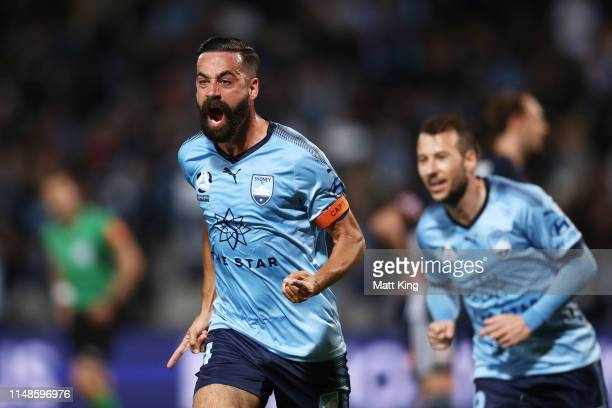 Alex Brosque of Sydney FC celebrates scoring a goal during the ALeague Semi Final match between Sydney FC and the Melbourne Victory at Netstrata...