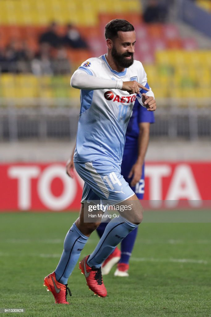 Alex Brosque of Sydney FC celebrates scoring his side's second goal during the AFC Champions League Group H match between Suwon Samsung Bluewings and Sydney FC at Suwon World Cup Stadium on April 3, 2018 in Suwon, South Korea.