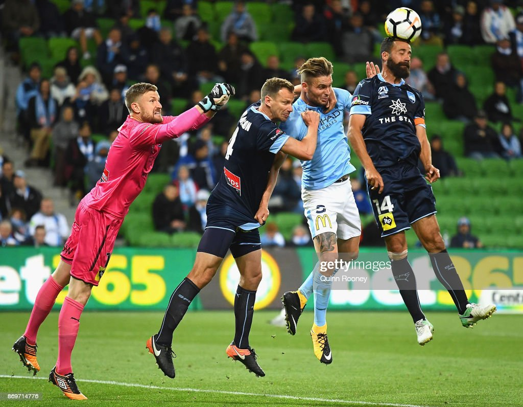 Alex Brosque of Sydney FC heads the ball during the round five A-League match between Melbourne City FC and Sydney FC at AAMI Park on November 3, 2017 in Melbourne, Australia.