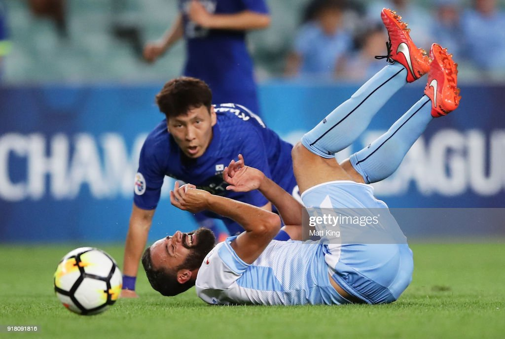 Alex Brosque of Sydney FC is tackled by Kwak Kwang-Seon of the Bluewings during the AFC Asian Champions League match between Sydney FC and Suwon Bluewings at Allianz Stadium on February 14, 2018 in Sydney, Australia.