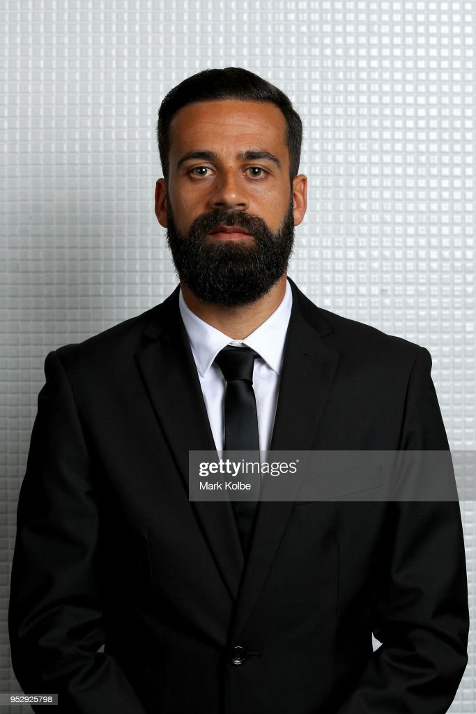 Alex Brosque of Sydney FC poses with the A-League Fair Play trophy won by Sydney FC during the FFA Dolan Warren Awards at The Star on April 30, 2018 in Sydney, Australia.