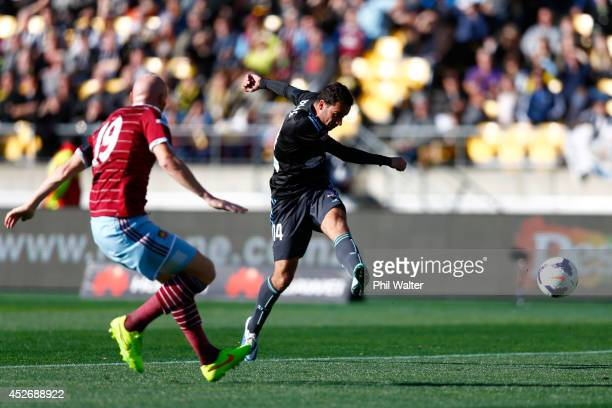Alex Brosque of Sydney FC scores a goal during the Football United New Zealand Tour match between Sydney FC and West Ham United at Westpac Stadium on...