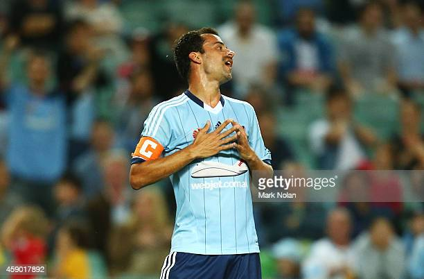 Alex Brosque of Sydney reacts after missing a shot at goal during the round six ALeague match between Sydney FC and Melbourne Victory at Allianz...