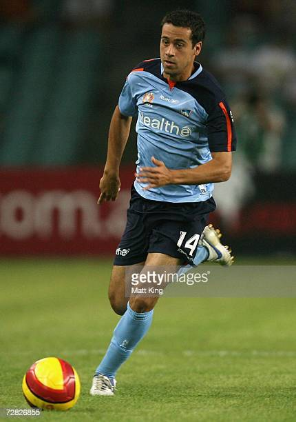 Alex Brosque of Sydney runs the ball up the field during the round 17 Hyundai A-League match between Sydney FC and Perth Glory at Aussie Stadium...