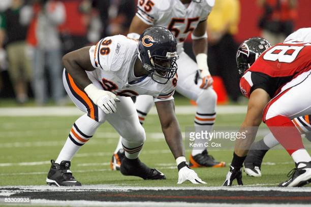Alex Brown of the Chicago Bears gets ready on the line during the game against the Atlanta Falcons at the Georgia Dome on October 12, 2008 in...