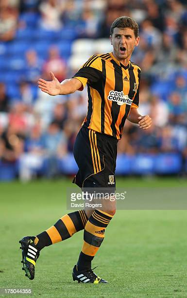 Alex Bruce of Hull City issues instructions during the pre season friendly match between Peterborough United and Hull City at London Road Stadium on...