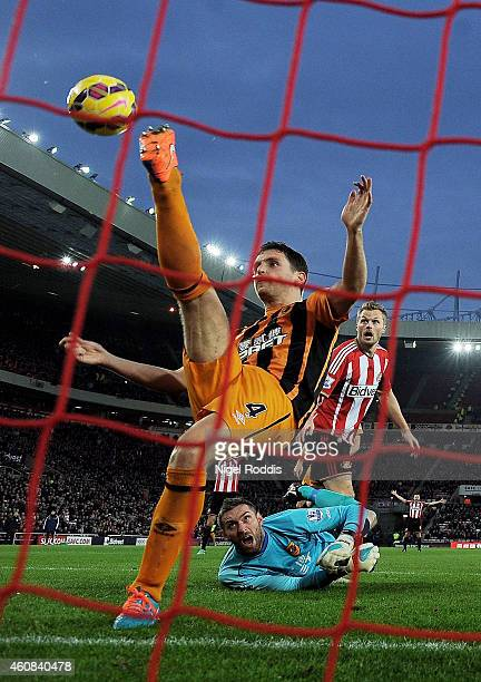 Alex Bruce of Hull City makes a goal line clearance during the Barclays Premier League match between Sunderland and Hull City at the Stadium of Light...