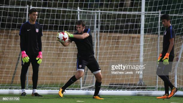 Alex Budnik of the United States in action during a training session ahead of the FIFA U17 World Cup India 2017 tournament at DY Patil Stadium on...