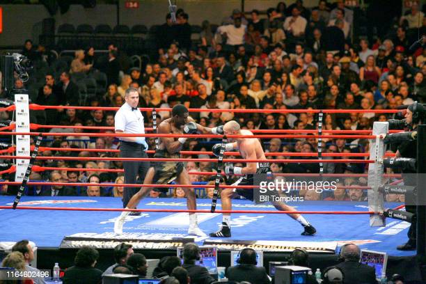 Alex Bunema defeats Roman Karmazin by TKO inthe 10th round during their Super Welterweight fight at Madison Square Garden on Jnauary 19, 2008 in New...