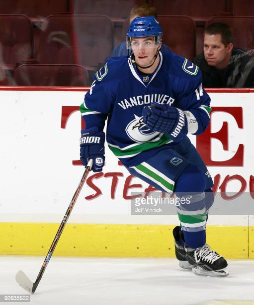 Alex Burrows of the Vancouver Canucks skates up ice during their game against the Detroit Red Wings at General Motors Place on October 27 2009 in...
