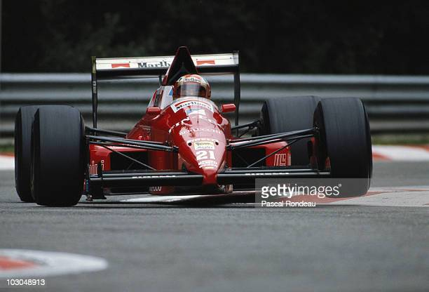 Alex Caffi drives the Scuderia Italia Dallara BMS F189 Ford Cosworth during the Belgian Grand Prix on 27 August 1989 at the SpaFrancorchamps circuit...