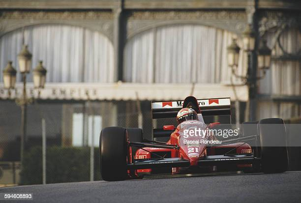 Alex Caffi of Italy drives the BMS Scuderia Italia BMS Dallara 189 Cosworth DFR V8 during practice for the Grand Prix of Monaco on 6 May 1989 on the...