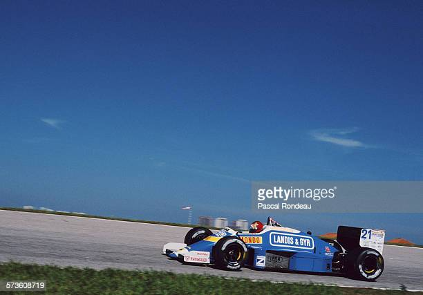 Alex Caffi of Italy drives the Osella Squadra Corse Osella FA1I Alfa Romeo V8 during practice for the Brazilian Grand Prix on 11 April 1987 at the...