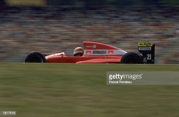 Alex Caffi of Italy in action in his Dallara Cosworth during the West German Grand Prix at the Hockenheim circuit in West Germany Caffi retired from...