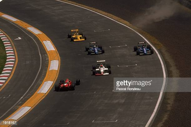Alex Caffi of Italy in action in his Dallara Cosworth just before he spins during the Mexican Grand Prix at the Mexico City circuit Caffi finished in...