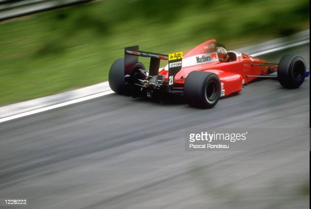Alex Caffi of Italy in action in his Dallara Ford during the San Marino Grand Prix at the Imola circuit in San Marino Caffi finished in seventh place...