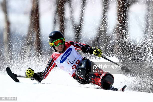 Alex Cairns of Canada competes in the Men's Sitting Giant Slalom at Jeongseon Alpine Centre on Day 5 of the PyeongChang 2018 Paralympic Games on...