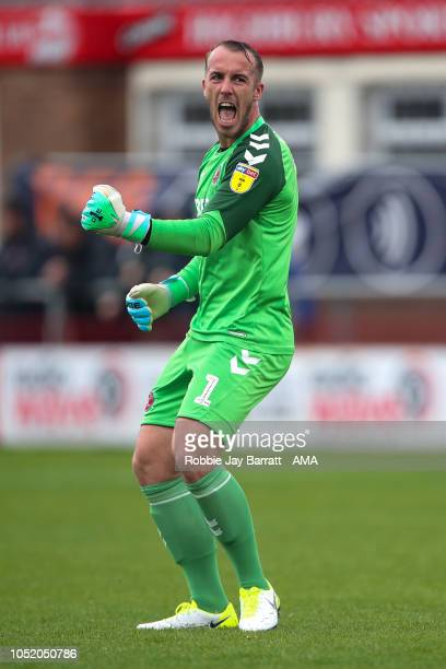 Alex Cairns of Fleetwood Town celebrates during the Sky Bet League One match between Fleetwood Town and Shrewsbury Town at Highbury Stadium on...