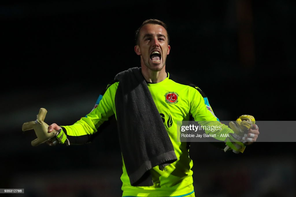 Alex Cairns of Fleetwood Town celebrates during the Sky Bet League One match between Rochdale and Fleetwood Town at Spotland Stadium on March 20, 2018 in Rochdale, England.