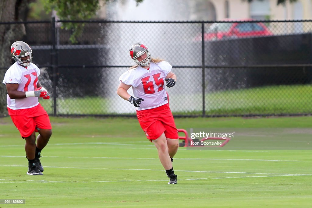 new product a94d9 d9b0c Alex Cappa goes thru drills during the Tampa Bay Buccaneers ...