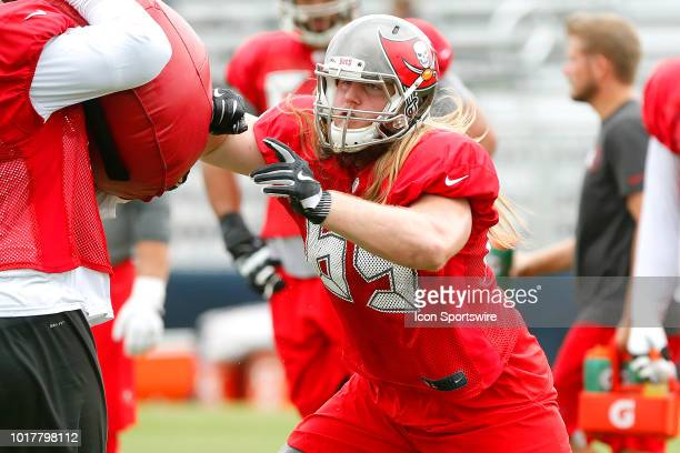 Alex Cappa of the Bucs goes thru a blocking drill during the joint training camp work out between the Tampa Bay Buccaneers and the Tennessee Titans...
