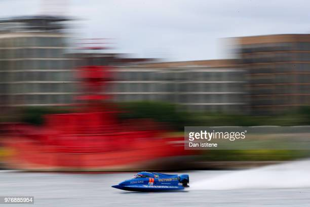 Alex Carella of Italy and Victory Team in action during free practice ahead of round two of the 2018 Championship the F1H2O UIM Powerboat World...