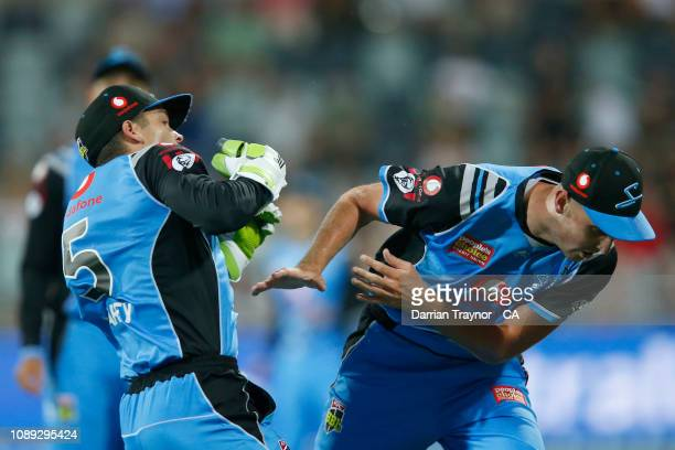 Alex Carey and Billy Stanlake of the Strikers collide in the field as Carey holds onto a catch to dismiss Sam Harper of the Renegades during the Big...