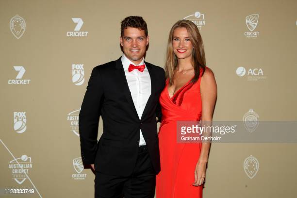 Alex Carey and Eloise Carey attend the 2019 Australian Cricket Awards at Crown Palladium on February 11 2019 in Melbourne Australia