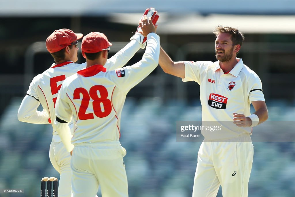 Alex Carey, Jake Weatherald and Chadd Sayers of South Australia celebrate the wicket of Ashton Turner of Western Australia during day three of the Sheffield Shield match between Western Australia and South Australia at WACA on November 15, 2017 in Perth, Australia.