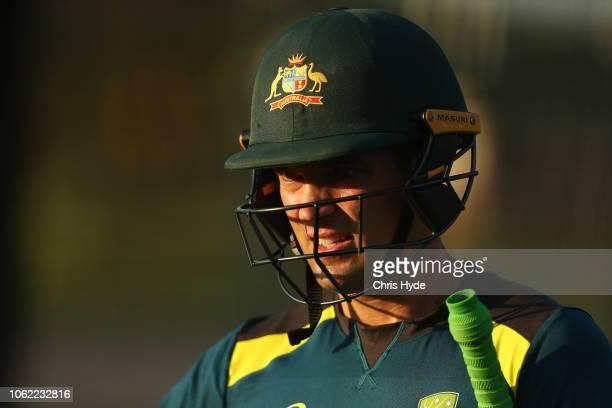 Alex Carey looks on during an Australian Twenty training session at Metricon Stadium on November 16 2018 in Gold Coast Australia