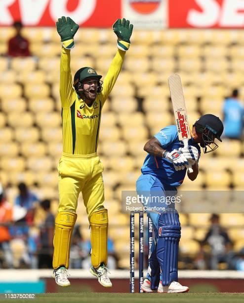 Alex Carey of Australia appeals for the wicket of Shikhar Dhawan of India during game two of the One Day International series between India and...