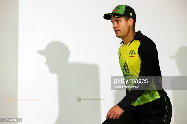 Alex Carey of Australia arrives at a press conference after game three of the International Twenty20 series between Australia and India at the Sydney...