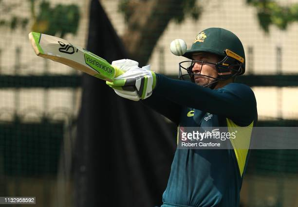 Alex Carey of Australia bats ahead of game one of the One Day International series between India and Australia at Rajiv Gandhi International Cricket...