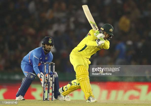 Alex Carey of Australia bats during game four of the One Day International series between India and Australia at Punjab Cricket Association Stadium...