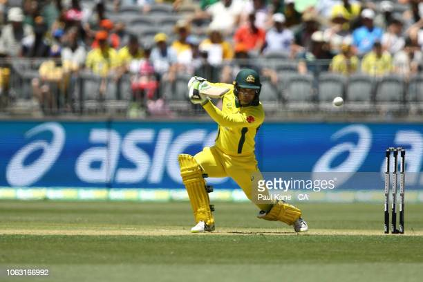 Alex Carey of Australia bats during game one of the One Day International series between Australia and South Africa at Optus Stadium on November 04...
