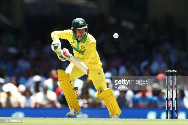 Alex Carey of Australia bats during game one of the One Day International series between Australia and India at Sydney Cricket Ground on January 12...