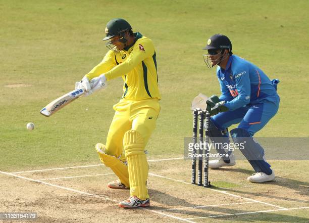 Alex Carey of Australia bats during game one of the One Day International series between India and Australia at Rajiv Gandhi International Cricket...