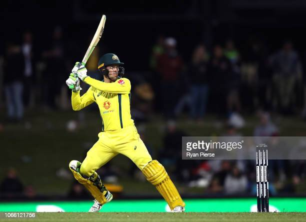 Alex Carey of Australia bats during game three of the One Day International series between Australia and South Africa at Blundstone Arena on November...