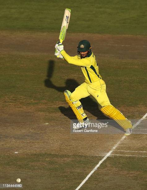 Alex Carey of Australia bats during game three of the One Day International series between India and Australia at JSCA International Stadium Complex...