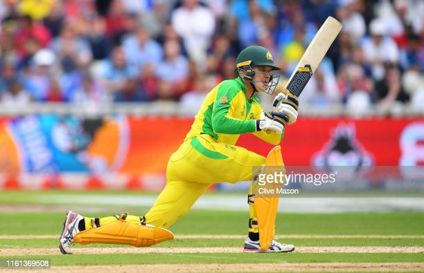 Alex Carey of Australia bats during the SemiFinal match of the ICC Cricket World Cup 2019 between Australia and England at Edgbaston on July 11 2019...